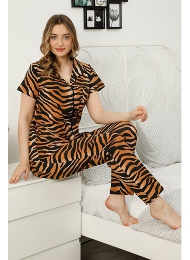 Akbeniz Kadın %100 Pamuk Önden Düğmeli Kısa Kol Pijama Takım 2815 Kahve